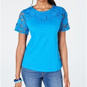 NWT Charter Club Petite Cotton Embroidered T-Shirt